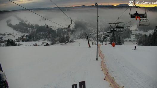 Zdjęcie z nowości 29 grudnia 2019 r. otwarto KOMPLEKS NARCIARSKI - SŁOTWINY w Krynicy-Zdroju. Widok z nowej kamery obrotowej.