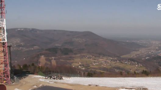 Widok z Góry Żar na jezioro Międzybrodzkie i zbiornik wodny.