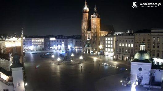 Widok z Kamery na Rynek w Krakowie na żywo