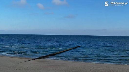 Widok z Kamery na piękną piaszczystą plażę w NIECHORZU.