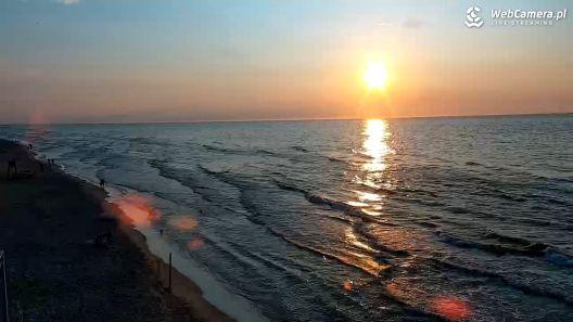 Widok z Kamery na żywo na plażę i morze w Rogowie
