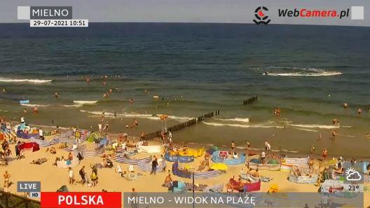 Widok z Kamery na plażę w nadmorskiej miejscowości Mielno.