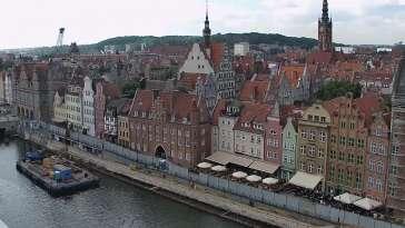 Gdańsk - widok z kamery na Starówkę od strony Motławy