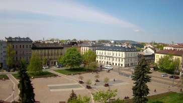 Ujęcie z kamery na Rynek Podgórski w Krakowie.