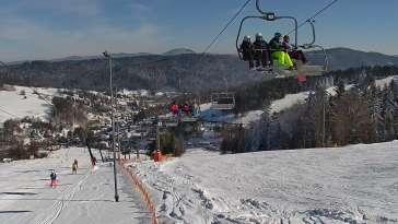 Ośrodek narciarski SŁOTWINY SKI w Krynicy Zdroju - widok na trasy