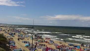 Ustronie Morskie widok z kamery na plażę
