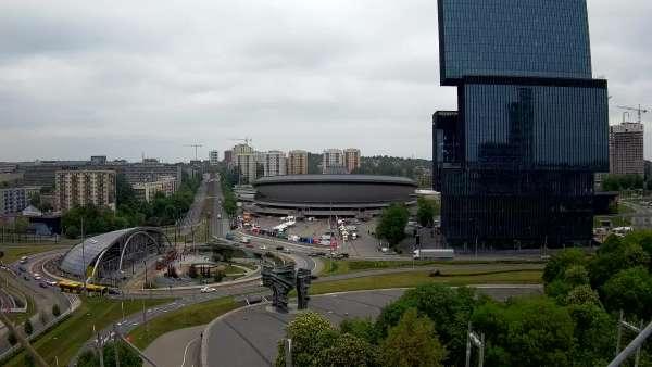 Widok z kamery na Spodek w Katowicach