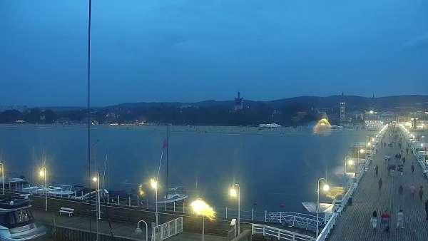 Kamera a z niej obraz na drewniane molo w Sopocie.
