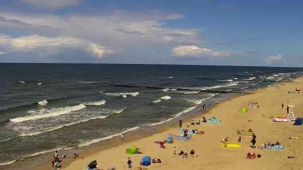Kamera z widokiem na plażę i morze w Trzęsaczu - Powiat Gryficki