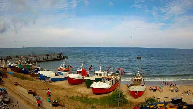 Zdjęcie z kamery CHŁOPY - widok na kutry rybackie