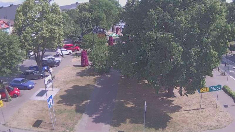 Widok z kamery online na stary rynek w Gąbinie