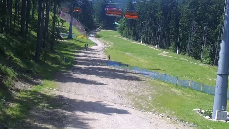 Widok z Kamery trasę narciarską w Karpacz Biały Jar.