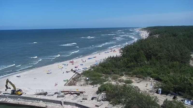 Kamera z widokiem na plażę w Rowach woj. pomorskie.