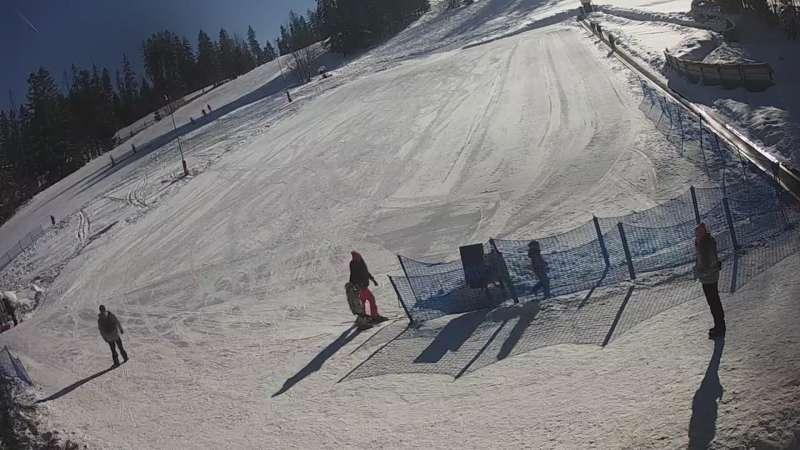 Widok live na odpowiednio wypłaszczony stok, przygotowany specjalnie dla najmłodszych narciarzy
