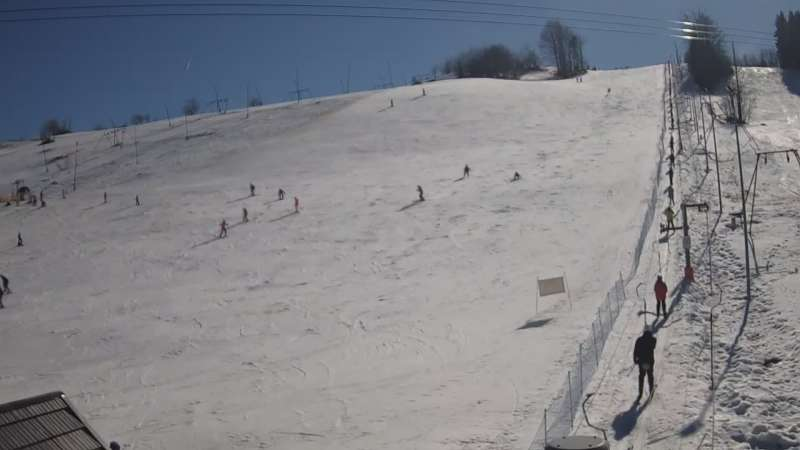 Widok na stok narciarski Wojtek w Zawoi