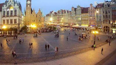 Widok z Kamery na Rynek Główny we Wrocławiu.
