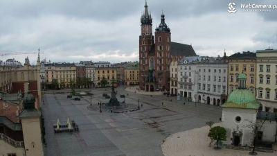 Ujęcie z kamery na Bazylikę Mariacką w Krakowie.