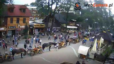 Obraz z kamery na ulicę Krupówki z zaprzęgami konnymi oraz turystów.