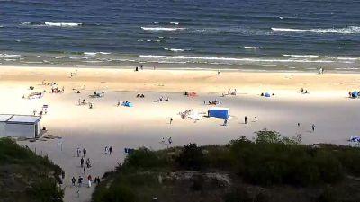 Widok z Kamery obrotowej na plażę w Świnoujściu.