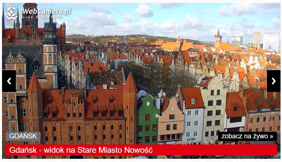 Kadr z kamery na Stary Rynek i Bramę Mariacką w Gdańsku - zobacz