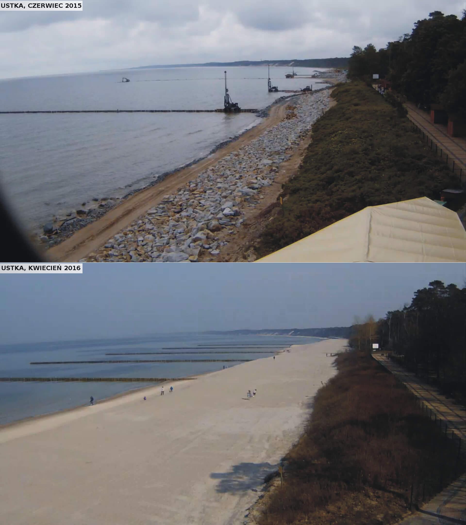 Ujęcie na wschodnią część plaży wUstce po rozbudowie plaży.