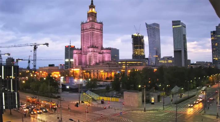 Widok na Pałac Kultury iNauki wWarszawie - zobacz obraz Live