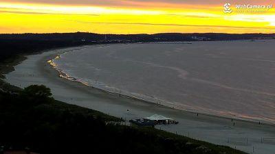 Widok z Kamery na zachód słońca w Świnoujściu.