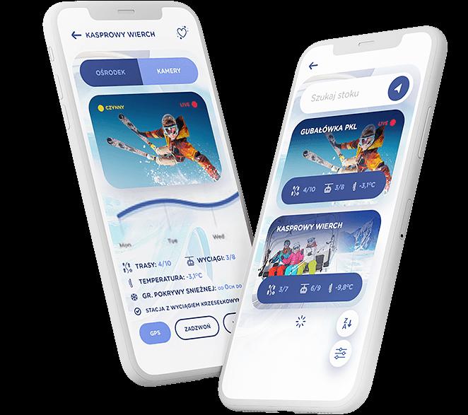 Prezentacja aplikacji na dwóch telefonach