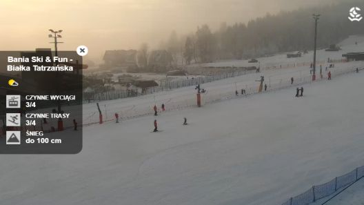 Ujęcia z trzech kamer na ośrodek narciarski Bania Ski&Fun
