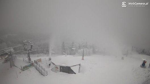 Widok z Kamery na górnej stacji narciarskiej HOTEL STOK W WIŚLE.