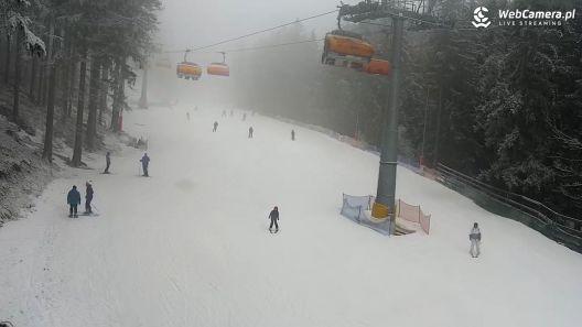 Widok na zjeżdżających narciarzy w ośrodku Biały jar w Karpaczu.
