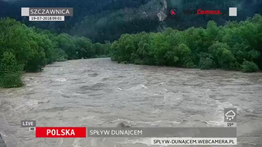 Zdjęcie z nowości Potężne ulewy na Podhalu - Dunajec wygląda groźnie - zobacz online